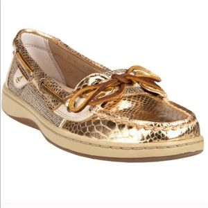 Sperry Topsider Angelfish Gold Snakeskin Shoes